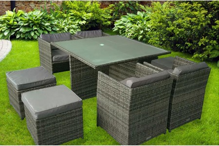 The Chelsea Rattan Cube Dining Set (Grey)