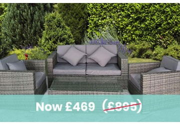 The Kensington Rattan Sofa Set Grey