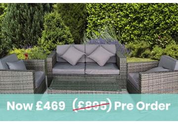 The Kensington Rattan Sofa Set Grey