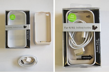 Battery Power Pack Case for iPhone 4/4s - White