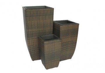 The Kew 3 Piece Rattan Planter Set