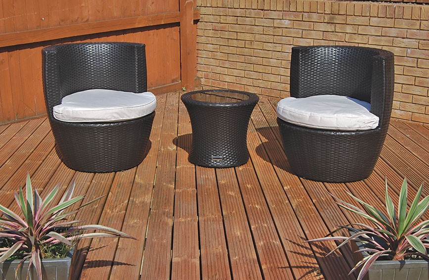 The Richmond - 3 Piece Luxury Rattan Stacking Set with Side Table